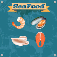 Illustration With Seafood. Shrimp, Squid, Red Fish And Mussels. On A Stuck Grunge Background With An Inscription On The Sides Of The Nail Head