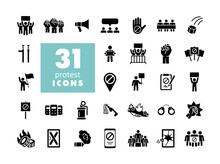 Protest, Strike, Revolution Set Vector Glyph Icons