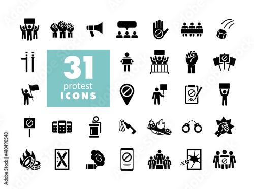 Fotografia Protest, strike, revolution set vector glyph icons
