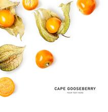 Physalis Cape Gooseberry Fruits Creative Layout.