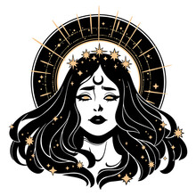 Beautiful Face Woman With Fluttering Hair In A Golden Crown Of Stars With A Halo