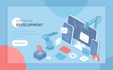Software Development Programming, Engineering, Coding. Testing And Bug Fixing. Creating New Applications, Programs, Frameworks. Isometric Vector Illustration For Banner, Website.