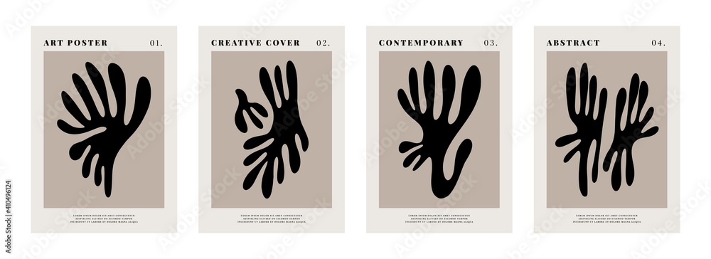 Fototapeta Contemporary posters. Matisse inspired abstract shapes, creative art prints. Vector illustration