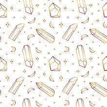 Seamless Golden Pattern With Crystals. Airy Gold Pattern With Semiprecious Stones And Crescents.