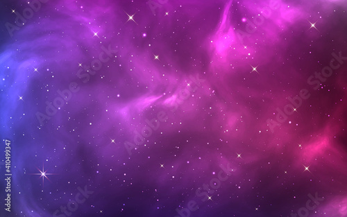 Obraz Space background. Bright purple cosmos. Magic stardust and shining stars. Colorful nebula and milky way. Realistic blue galaxy. Beautiful outer space. Starry universe. Vector illustration - fototapety do salonu