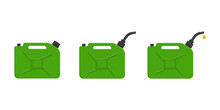 Set Of Gas Cans, Gasoline Canisters With Cap, Spout And Pouring Petrol Drop. Petrol Containers Isolated On White Background. Vector Cartoon Illustration.