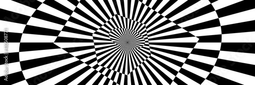 Fototapeta premium Vector illustration of stripes and shapes with optical illusion. Op art abstract background. Long horizontal banner.