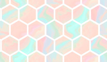 Tender Teal And Coral Geometric Seamless Pattern With Gradient Marble Hexagons. Abstract Pink And Blue Background For Textile, Wrapping Paper, Surface, Wallpaper Design