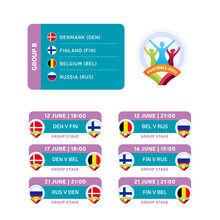 Football 2020 Tournament Final Stage Group B Vector Stock Illustration With Matches Schedule. 2020 European Soccer Tournament With Background. Vector Country Flags