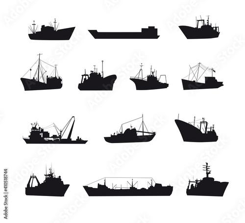 Wallpaper Mural Set of fishing sea boats icons