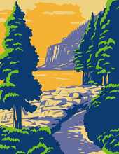Ocean Path With The Otter Cliff In Acadia National Park On Mount Desert Island Maine United States WPA Poster Art