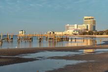 Hotels, Casino, Marinas And Ruined Piers Along The Sandy Gulf Coast, Biloxi, Mississippi