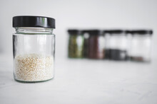Seed Jars With Sesame Poppy Pupmkin Chia And Flax Seeds As Important Nutrient Sources For Nutrition Shot On White Background