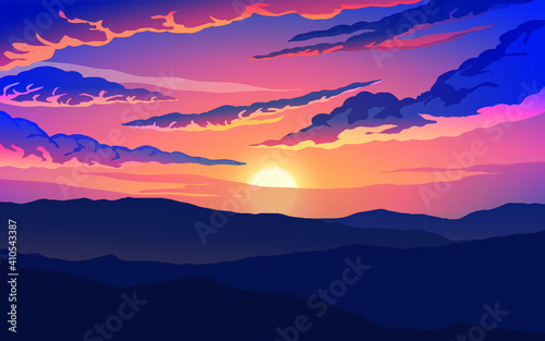 Fototapety, obrazy: Golden sunset over mountains