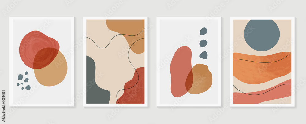 Fototapeta Abstract wall arts background vector set.  Earth tones organic shape watercolor paint art brush design for wall framed prints, canvas prints, poster, home decor, cover, wallpaper. Vector illustration