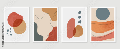 Fototapeta Abstract wall arts background vector set.  Earth tones organic shape watercolor paint art brush design for wall framed prints, canvas prints, poster, home decor, cover, wallpaper. Vector illustration obraz