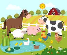 Vector Illustration Cartoon Of Happy Farm Animals.