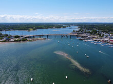 Aerial View Of Essex Bridge Across Danvers River Mouth At Salem Harbor In City Of Beverly, Massachusetts MA, USA.