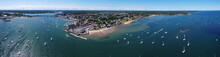 Aerial View Panorama Of Sandy Point At Danvers River Mouth To Salem Harbor In City Of Beverly, Massachusetts MA, USA.