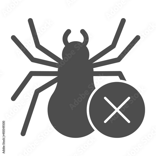 Fotografie, Tablou Spider and ban symbol solid icon, pest control concept, anti tarantula sign on white background, no spiders icon in glyph style for mobile concept and web design