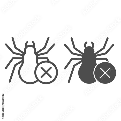Tablou Canvas Spider and ban symbol line and solid icon, pest control concept, anti tarantula sign on white background, no spiders icon in outline style for mobile concept and web design