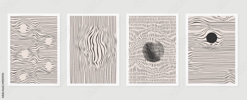 Fototapeta Black and white abstract wall arts vector. Hand draw Organic shape design for wall framed prints, canvas prints, poster, home decor, cover, wallpaper. Vector illustration