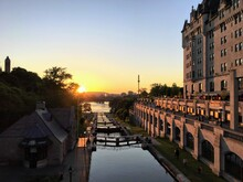 The Locks Of The Rideau Canal Beside Parliament In Ottawa, Canada