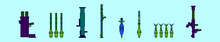 Set Of Rpg Weapon Cartoon Icon Design Template With Various Models. Vector Illustration Isolated On Blue Background