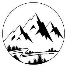Hand Drawn Vector Illustration Of Mountain Landscape In A Circle. River And Trees In Forest Mountain Landscape. Hight Mountain Peaks Logo, Line Sketch Icon. Black Lines Isolated On A White Background.