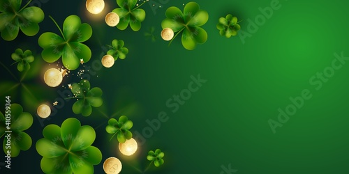 Obraz Horizontal Postcard for St. Patrick's Day. Clover leaves with coins on dark green background for greeting holiday design with space for text Vector illustration. - fototapety do salonu