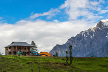 Landscapes Photo With Mountain Hut And Truck On The Track , Arangkel Is Beautiful Valley Of Kashmir