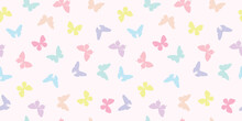 Pastel Butterfly Seamless Repeat Pattern Background Vector.