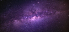 Panorama View Universe Space Shot Of Milky Way Galaxy With Stars On A Night Sky Background. The Milky Way Is The Galaxy That Contains Our Solar System.