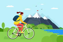 Young Woman Riding Bicycle In Mountains. Girl Bicyclist Tourist With Backpack On Bike Travel In Nature. Female Cyclist Active Recreation On Hill Lake And Forest. Cycle Ride Touring Vector Illustration