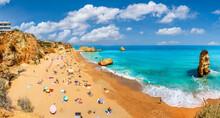 Landscape With Dona Ana Beach At Algarve Coast In Portugal
