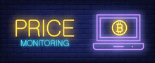 Price Monitoring Vector Illustration In Neon Style