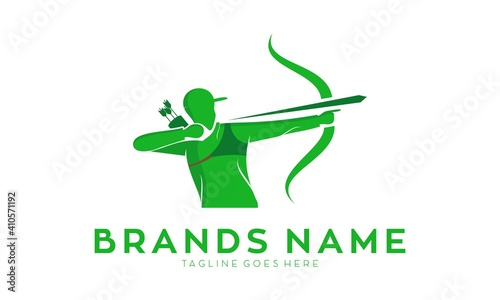 Canvas Print Muscle male archer vector logo