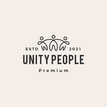 Unity People Hipster Vintage Logo Vector Icon Illustration