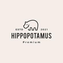 Hippopotamus Hipster Vintage Logo Vector Icon Illustration
