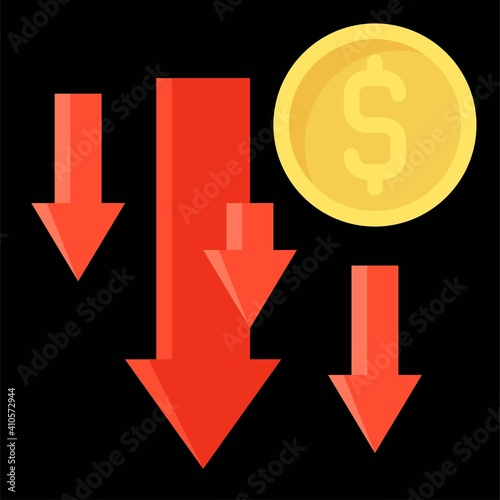 Photo Coin with many down arrow icon, Bankruptcy related vector
