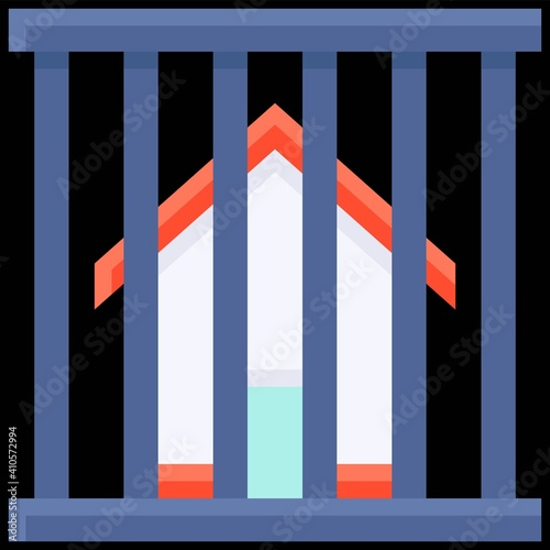 Canvastavla House inside Cage icon, Bankruptcy related vector