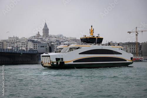 Fotografie, Obraz Ferry in Bosphorus Strait, Istanbul, Turkey