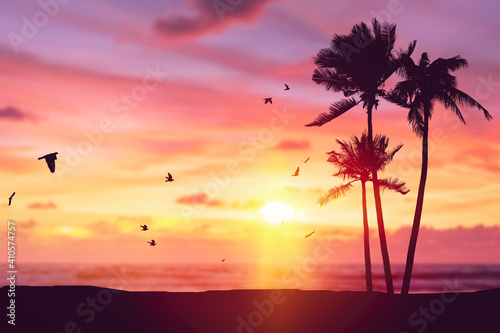 Silhouette palm tree at tropical beach with birds flying on sunset sky abstract background. Nature environment and travel freedom concept.