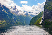 Geiranger Fjord With A Waterfall In Norway