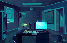 Vector Cabinet Of Private Detective At Night