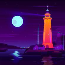 Working Lighthouse On Seashore Cartoon Vector