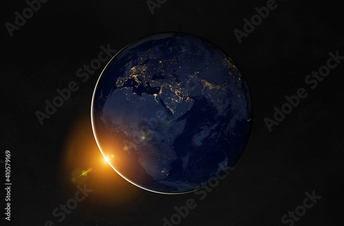 Fototapeta View of planet Earth at night with cities lights on Europe and Africa 3D rendering elements of this image furnished by NASA obraz
