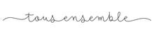 Banniere Vecteur Calligraphique Monolineaire Noir TOUS ENSEMBLE