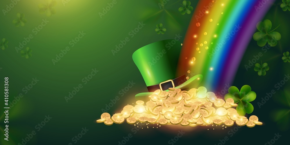 Fototapeta Happy St. Patrick's Day sign background with a leprechaun green shamrock hat full of gold coins at the end of the rainbow. Vector illustration
