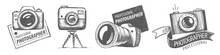 Set Of Vector Drawn Logos For Professional Photographer